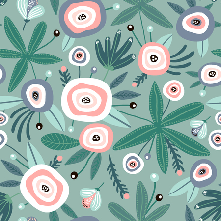 Illustration for Seamless pattern with flowers, leaves. Creative floral green texture. Great for fabric, textile Vector Illustration - Royalty Free Image