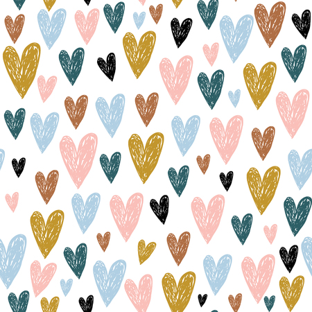 Ilustración de Seamless childish pattern with hand drawn hearts.Creative scandinavian kids texture for fabric, wrapping, textile, wallpaper, apparel. Vector illustration - Imagen libre de derechos