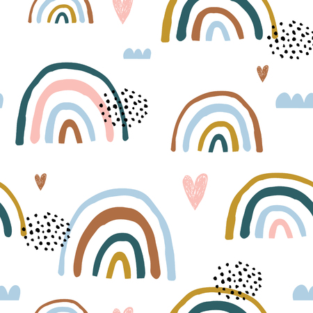Ilustración de Seamless childish pattern with hand drawn rainbows and hearts, .Creative scandinavian kids texture for fabric, wrapping, textile, wallpaper, apparel. Vector illustration - Imagen libre de derechos