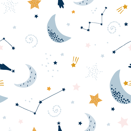 Illustration for Seamless childish pattern with starry sky, moon. Creative kids texture for fabric, wrapping, textile, wallpaper, apparel. Vector illustration - Royalty Free Image