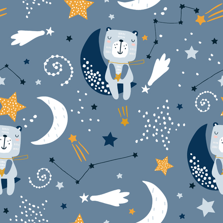 Illustration pour Seamless childish pattern with cute bears on clouds, moon, stars. Creative scandinavian style kids texture for fabric, wrapping, textile, wallpaper, apparel. Vector illustration - image libre de droit