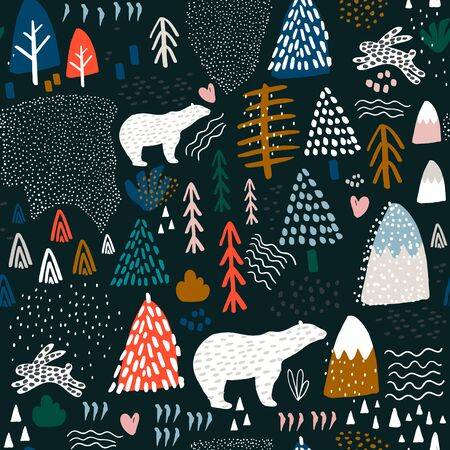 Ilustración de Seamless pattern with bunny,polar bear, forest elements and hand drawn shapes. Childish texture. Great for fabric, textile Vector Illustration - Imagen libre de derechos