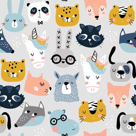 Ilustración de Seamless childish pattern with funny animals faces . Creative scandinavian kids texture for fabric, wrapping, textile, wallpaper, apparel. Vector illustration - Imagen libre de derechos