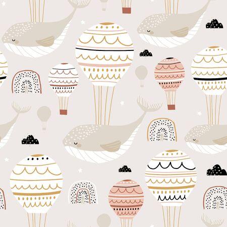 Ilustración de Seamless childish pattern with sleeping whales hot air balloons. Creative kids hand drawn texture for fabric, wrapping, textile, wallpaper, apparel. Vector illustration - Imagen libre de derechos
