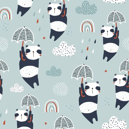 Illustration pour Seamless childish pattern with cute pandas, umbrellas and hand drawn textures. Creative kids hand drawn texture for fabric, wrapping, textile, wallpaper, apparel. Vector illustration - image libre de droit