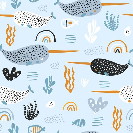 Illustration pour Seamless pattern with abstract narwals, rainbows, seaweeds. Undersea Childish texture for fabric, textile. Vector background - image libre de droit