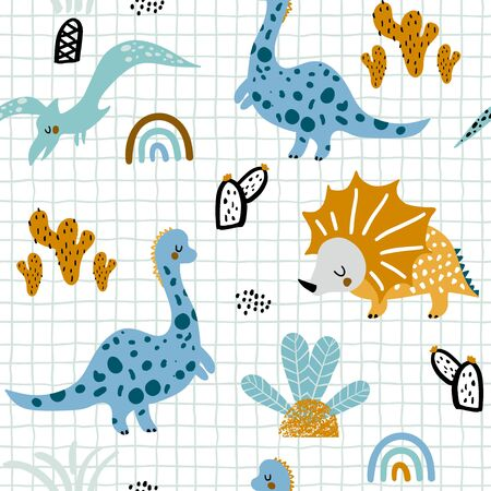 Illustration pour Childish seamless pattern with hand drawn dinozaurus, palm trees and cactuses in scandinavian style. Creative vector childish background for fabric, textile - image libre de droit