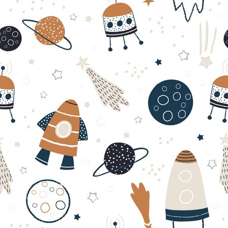 Illustration pour Childish seamless pattern with hand drawn space elements space, rocket, star, planet, space probe. Trendy kids vector background. - image libre de droit
