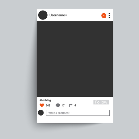 Illustration pour Photo frame inspired by instagram for friends internet sharing. Empty Social network photo frame to use in your design. - image libre de droit