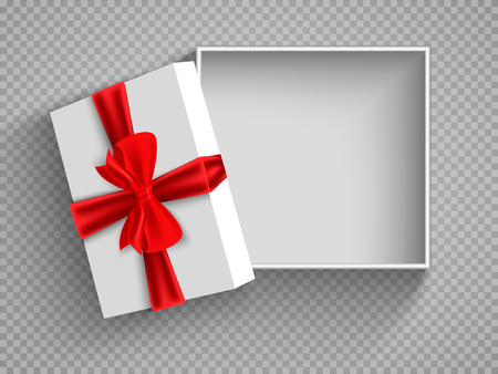 Illustration pour Open gift box with red bow isolated on white. Illustration Isolated on a transparent background. Vector. - image libre de droit