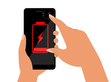 Ilustración de Hand holds a smartphone with a low battery on the screen. Flat vector illustration. - Imagen libre de derechos