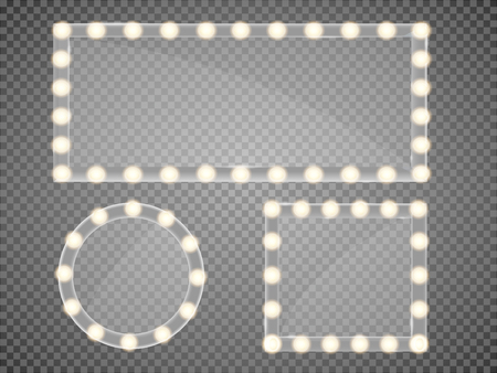 Illustration pour Mirror in frame with light makeup lights for changing room or backroom, on transparent background vector illustration - image libre de droit
