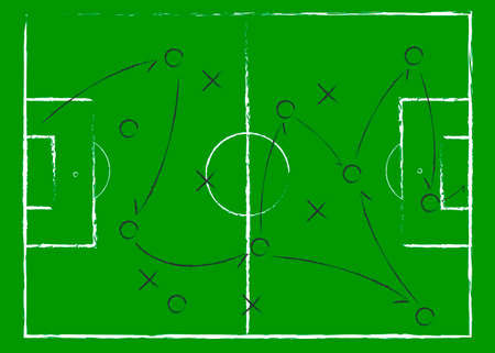 Illustration pour Soccer game tactical scheme. The scheme of the game. Strategy. Tactics. On the chalkboard. For your design. Vector chalk graphic on black board - image libre de droit