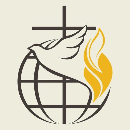Illustration pour Church logo. Globe, holy spirit, dove, cross, flame, Pentecost - image libre de droit