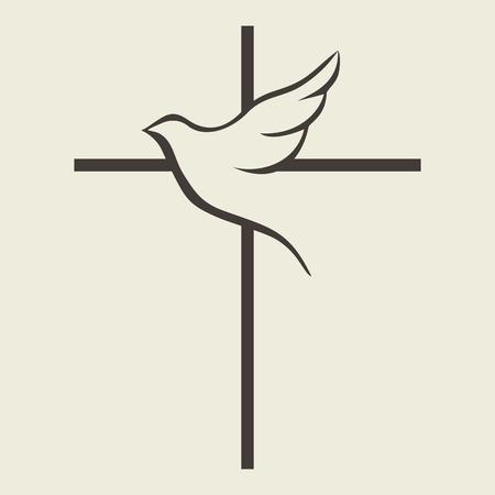 Illustration pour Dove and cross - image libre de droit