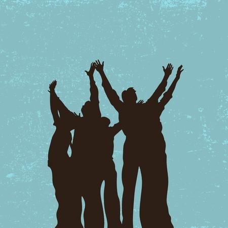 Group prayer, raised hands, praise, worship, silhouettes, people