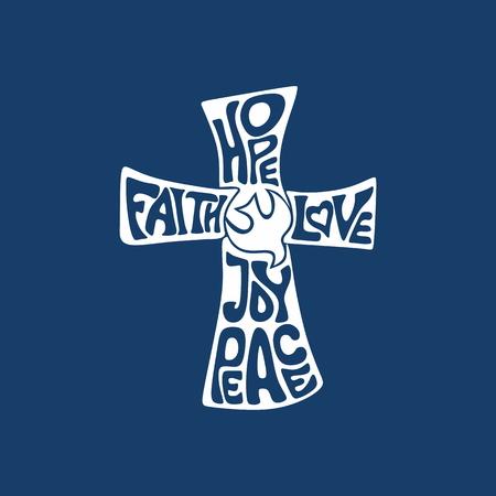 Illustration pour Cross. Faith, hope, love, joy and peace - image libre de droit