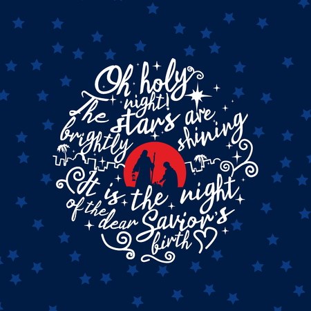 Illustration for Nativity scene. Christmas. Lettering. O holy night - Royalty Free Image