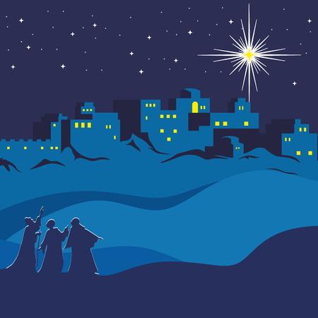 Illustration for Christmas. Night Bethlehem, wise men following the star of Bethlehem - Royalty Free Image
