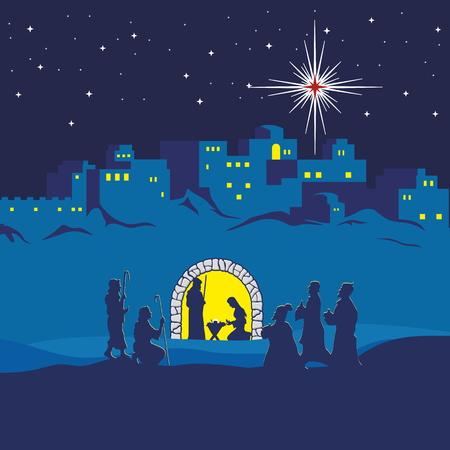 Illustration for Nativity scene. Christmas. Bethlehem. Mary, Joseph and small Jesus. The shepherds and the wise men came to worship Jesus - Royalty Free Image