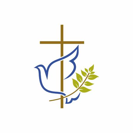 Illustration pour Church logo. Christian symbols. Cross, dove and olive branch. - image libre de droit
