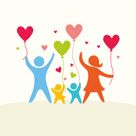 Illustration for A happy family. Multicolored figures, loving family members. Parents: Mom, Dad, kids. Logo, icon, sign. - Royalty Free Image