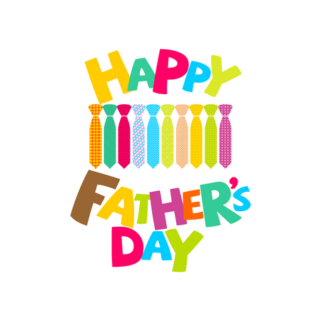 Typography and lettering with designer colored elements and silhouettes for a happy father's day