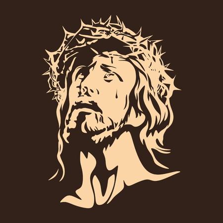 Illustration pour Face of the Lord Jesus Christ - image libre de droit