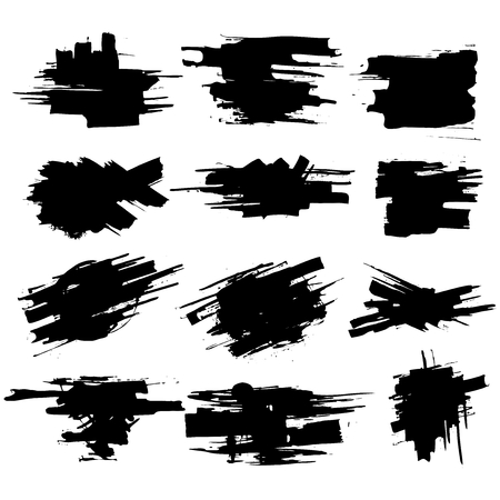 Illustration pour Collection of smears with black paint, strokes, brush strokes, stains and splashes, dirty lines, rough textures. Elements of artistic design. - image libre de droit