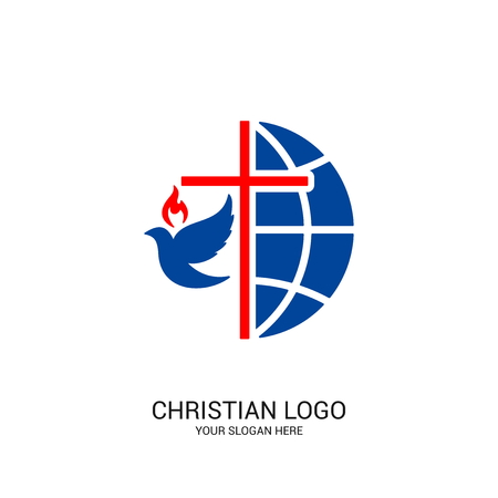 Illustration pour Christian church logo. Bible symbols. The globe, the cross of Jesus Christ and the dove. - image libre de droit