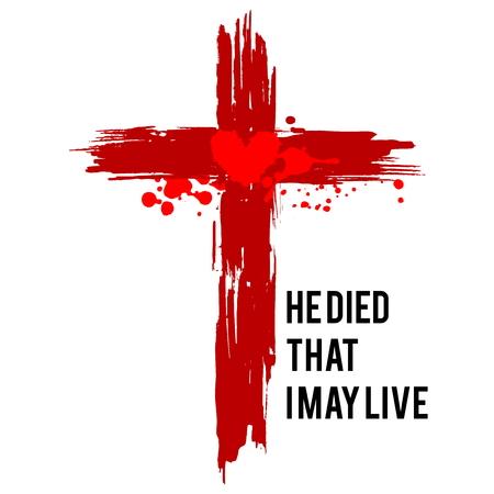 Illustration pour Happy easter illustration. Jesus died that I may live. - image libre de droit