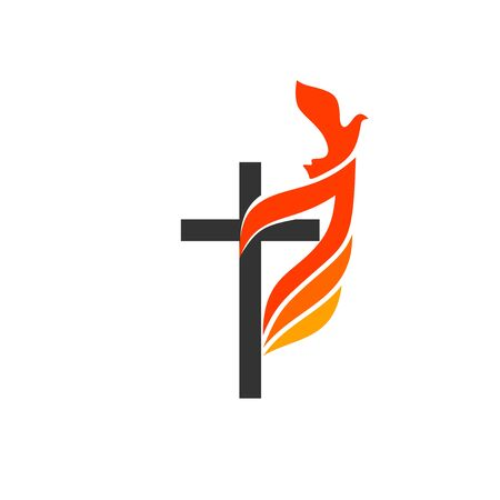Illustration pour Christian symbols. The logo of the church. The cross of Jesus, the flame of fire as a symbol of the Holy Spirit. - image libre de droit