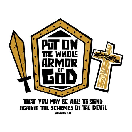 Illustration pour Christian typography, lettering and illustration. Put on the whole armor of God. - image libre de droit
