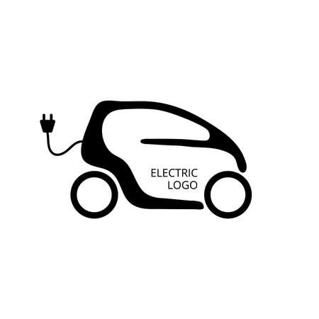 Illustration pour Small electric car for easy parking and ride city. Eco car concept icon. Economy vehicle. Hybrid transport logo - image libre de droit