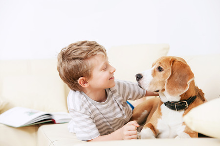 Photo for Two friends - boy and dog lying together on sofa - Royalty Free Image
