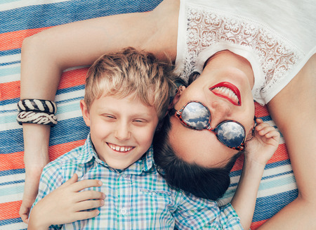 Photo for Happy smiling mother and son portrait - Royalty Free Image