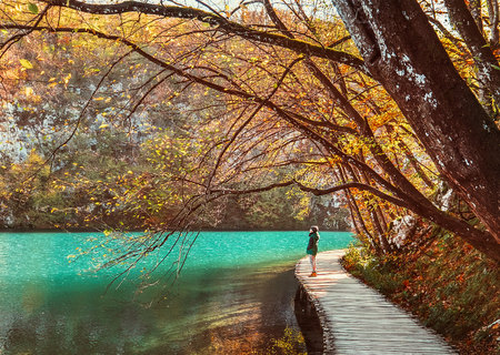 Foto de Boy stay on wooden bridge over the mountain lake, golden autumn time - Imagen libre de derechos