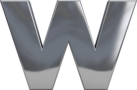 Metal W letter character isolated on white. Including clipping path. Part of complete alphabet set.