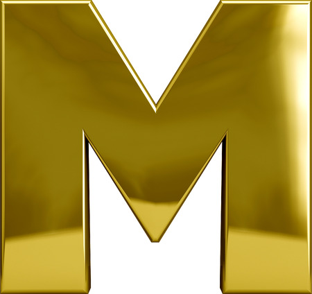 Gold metal M letter character isolated on white