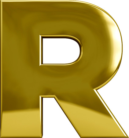 Gold R letter character isolated on white