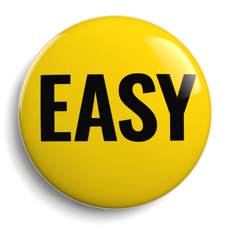 Photo for Easy Yellow Button Sign 3D Icon Isolated on White - Royalty Free Image