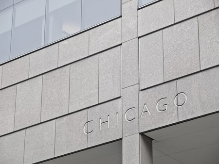 Chicago Lettering carved in a modern building