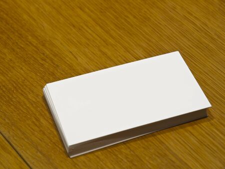 Blank Business Card on a wooden table