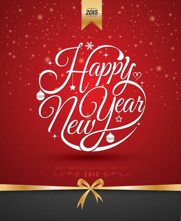 Happy new year card. Vector illustration. Can use for printing and web.