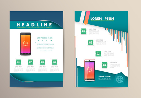 Brochure Flyer design vector template with smartphone. Vector illustration.