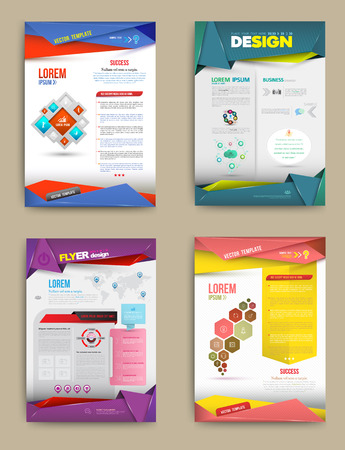 Illustrazione per Set of Flyer, Brochure Design Templates. Abstract Modern Backgrounds. business concept. Vector illustration. - Immagini Royalty Free
