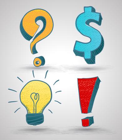 Doodle symbol set with texture. Vector illustration. Question mark, Dollar sign, Light bulb, Alert sign.