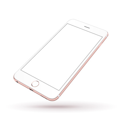 Illustration pour New realistic mobile phone smartphone iphon style mockup with pink screen isolated on white background. Vector illustration. - image libre de droit