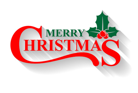 Illustration pour Merry Christmas greeting card, holly design elements - image libre de droit