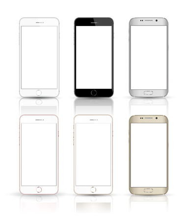 Ilustración de New realistic mobile phone smartphone collection iphon style mockups with blank screen isolated on white background. - Imagen libre de derechos